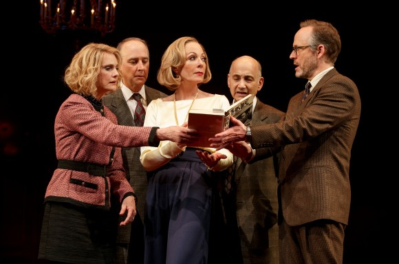 "Lisa Emery, Michael Countryman, Allison Janney, Ned Eisenberg, and John Benjamin Hickey in a scene from ""Six Degrees of Separation."" (Joan Marcus)"