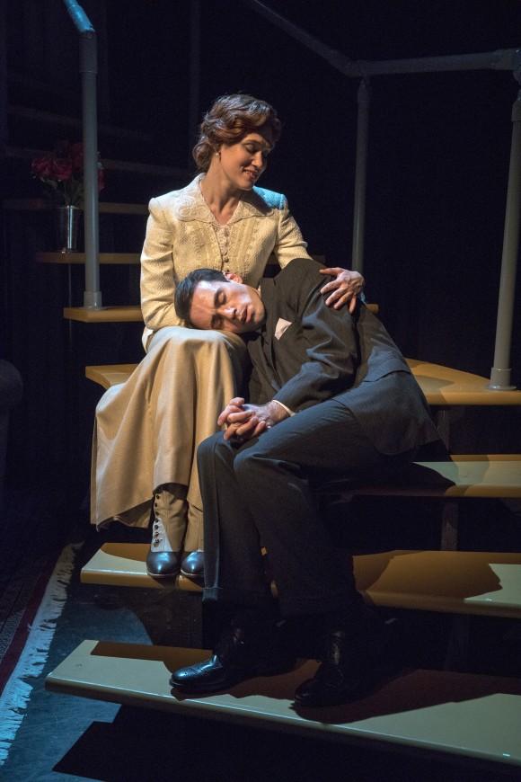 Pamela Carey (Paton Ashbrook) and Bob Farringdon (Ari Brand) in an intimate moment,