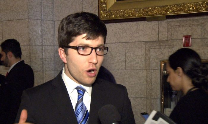 MP Garnett Genuis on Parliament Hill on April 10, 2017. Genuis is urging the government to support his private member's bill to combat organ trafficking. (NTD Television)