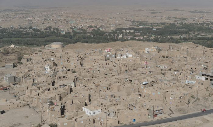 An aerial view of Ghazni during a helicopter flight from Kabul to Ghazni, during a media tour of the area on Sept. 13, 2014. (Shah Marai/AFP/Getty Images)
