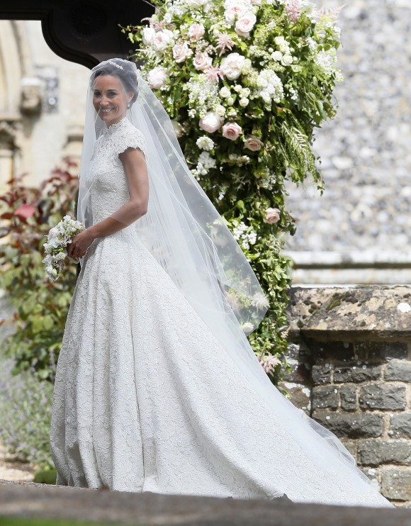 ENGLEFIELD, ENGLAND - MAY 20: Pippa Middleton arrives for her wedding to James Matthews at St Mark's Churchon May 20, 2017 in Englefield, England. Middleton, the sister of Catherine, Duchess of Cambridge is to marry hedge fund manager James Matthews in a ceremony Saturday where her niece and nephew Prince George and Princess Charlotte are in the wedding party, along with sister Kate and princes Harry and William. (Photo by Kirsty Wigglesworth - Pool/Getty Images)