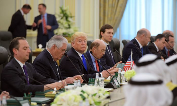 (From L) White House Chief of Staff Reince Priebus, US Secretary of State Rex Tillerson, US President Donald Trump and Commerce Secretary Wilbur Ross take part in bilateral meeting with Saudi Arabia's King Salman bin Abdulaziz al-Saud at the Saudi Royal Court in Riyadh on May 20, 2017. (Mandel Ngan/AFP/Getty Images)