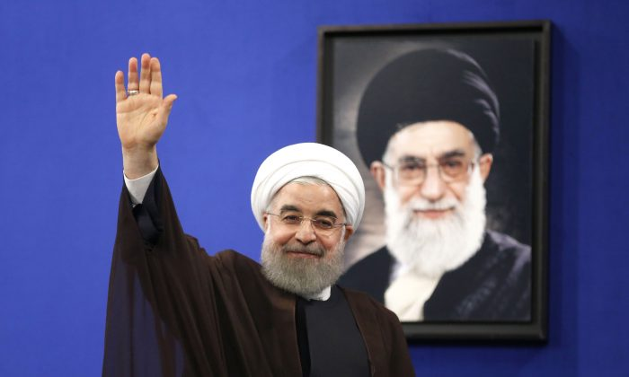 Newly re-elected Iranian President Hassan Rouhani gestures after delivering a televised speech in the capital Tehran on May 20, 2017. (Atta Kenare/AFP/Getty Images)