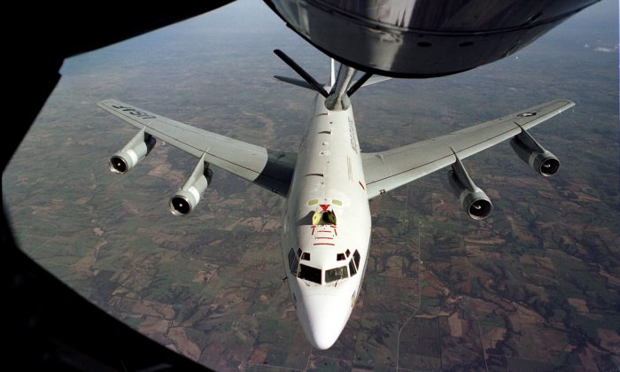 WC-135W Constant Phoenix aircraft collects particulate and gaseous debris from the accessible regions of the atmosphere in support of the Limited Nuclear Test Ban Treaty of 1963. (U.S. Air Force photo)