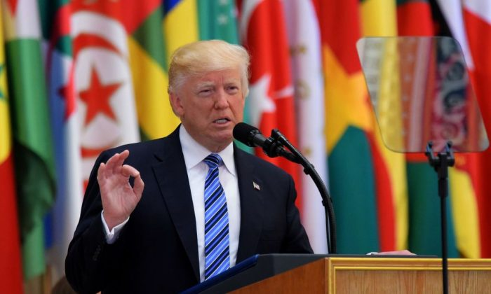 President Donald Trump during the Arabic Islamic American Summit at the King Abdulaziz Conference Center in Riyadh on May 21, 2017. (MANDEL NGAN/AFP/Getty Images)