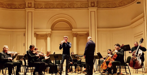Irish oboist, Ben Gannon and the Marcello Oboe Concerto with the New York Concerti Sinfonietta in his Carnegie Hall Debut. (Jeremy Friers)