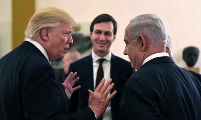 US President Donald J Trump (L) and White House senior adviser Jared Kushner meet with Israel Prime Minister Benjamin Netanyahu (R) at the King David Hotel in Jerusalem, Israel on May 22, 2017. (Kobi Gideon/GPO via Getty Images)