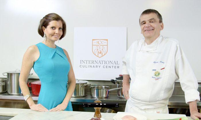 Sibylle Eschapasse and chef Sylvain Portay at the International Culinary Center. (Melinda Martinez/Celebrity Taste Makers)
