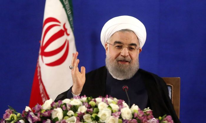 Iranian President Hassan Rouhani speaks during a press conference in Tehran on May 22, 2017. (ATTA KENARE/AFP/Getty Images)