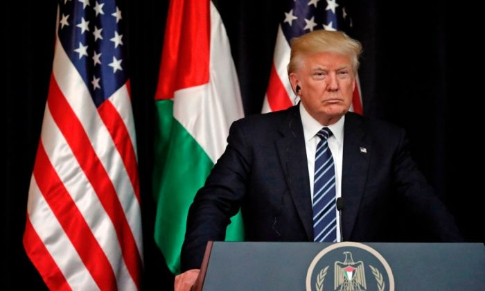 President Donald Trump during a joint press conference with the Palestinian leader at the presidential palace in the West Bank city of Bethlehem on May 23, 2017. (THOMAS COEX/AFP/Getty Images)