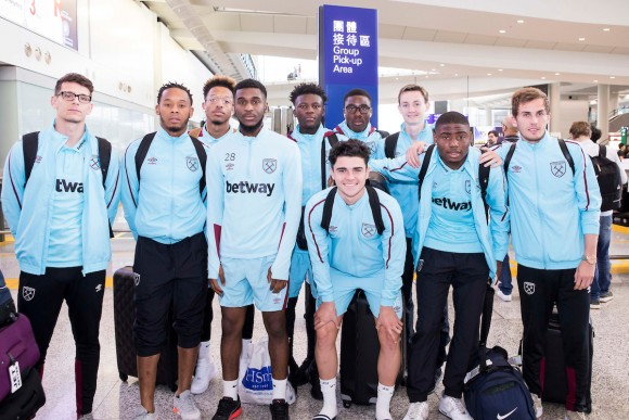 Coaches and players of the West Ham United Academy football team arrive in Hong Kong on Wednesday May 24 in readiness to compete in the HKFC Citi Soccer Sevens to take place from Friday May 26 to Sunday May 28. (King Chung Fung/Power Sport Images)