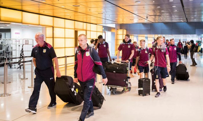 Coaches and players of the Aston Villa Academy football team arriving at Hong Kong airport on Wednesday May 24 in readiness to compete in the HKFC Citi Soccer Sevens to take place from Friday May 26 to Sunday May 28, 2017. (King Chung Fung/Power Sport Images)