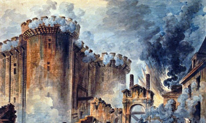 """""""The Storming of the Bastille"""", Visible in the center is the arrest of Bernard René Jourdan, m de Launay (1740-1789). (Creative Commons/Wikimedia)"""