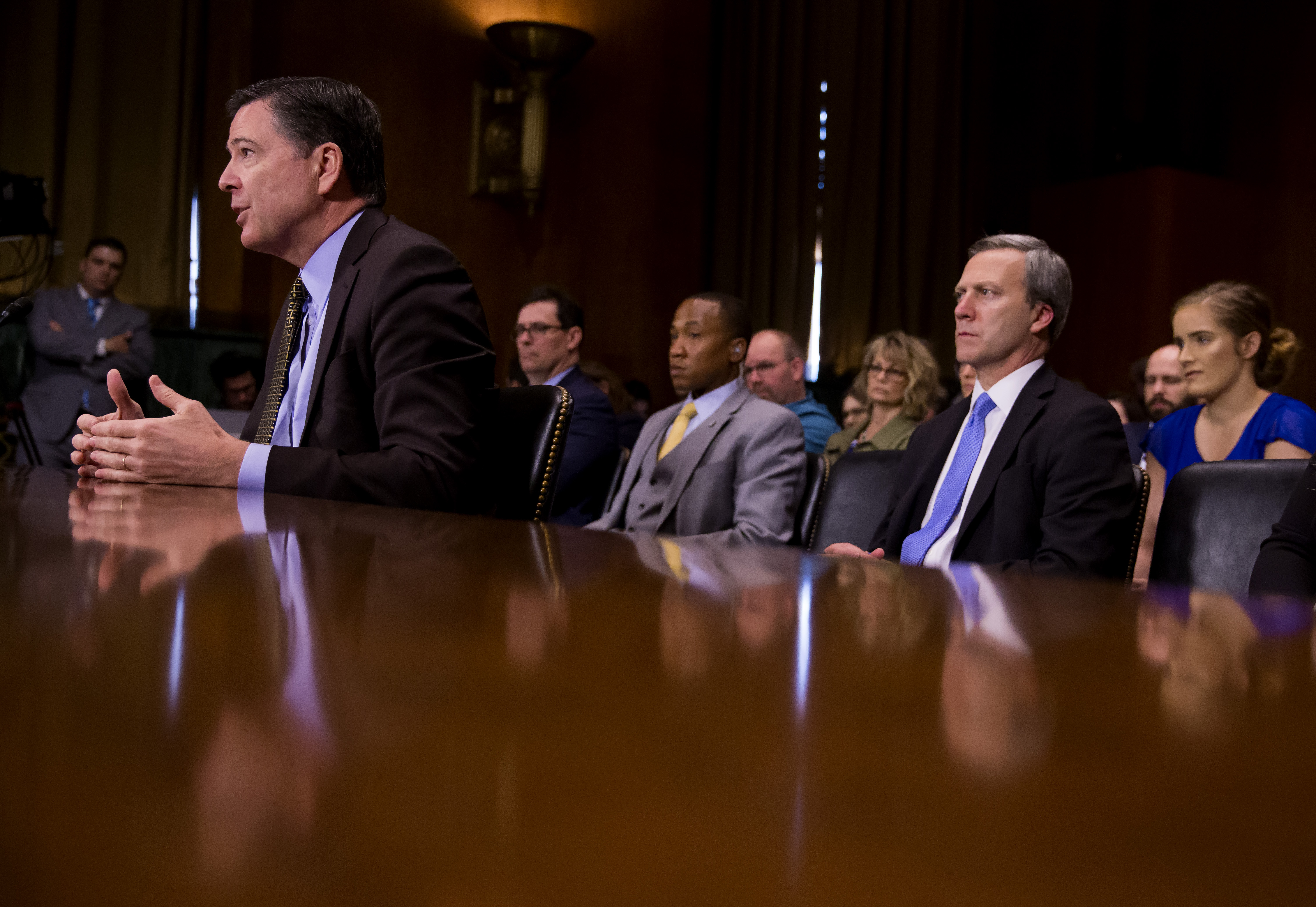Director of the Federal Bureau of Investigation, James Comey testifies in front of the Senate Judiciary Committee during an oversight hearing on the FBI on Capitol Hill in Washington on May 3, 2017. (Eric Thayer/Getty Images)