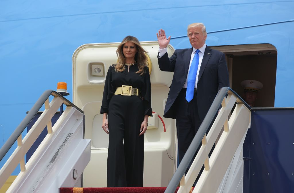 President Donald Trump and First Lady Melania Trump step off Air Force One upon arrival at King Khalid International Airport in Riyadh on May 20, 2017. (MANDEL NGAN/AFP/Getty Images)