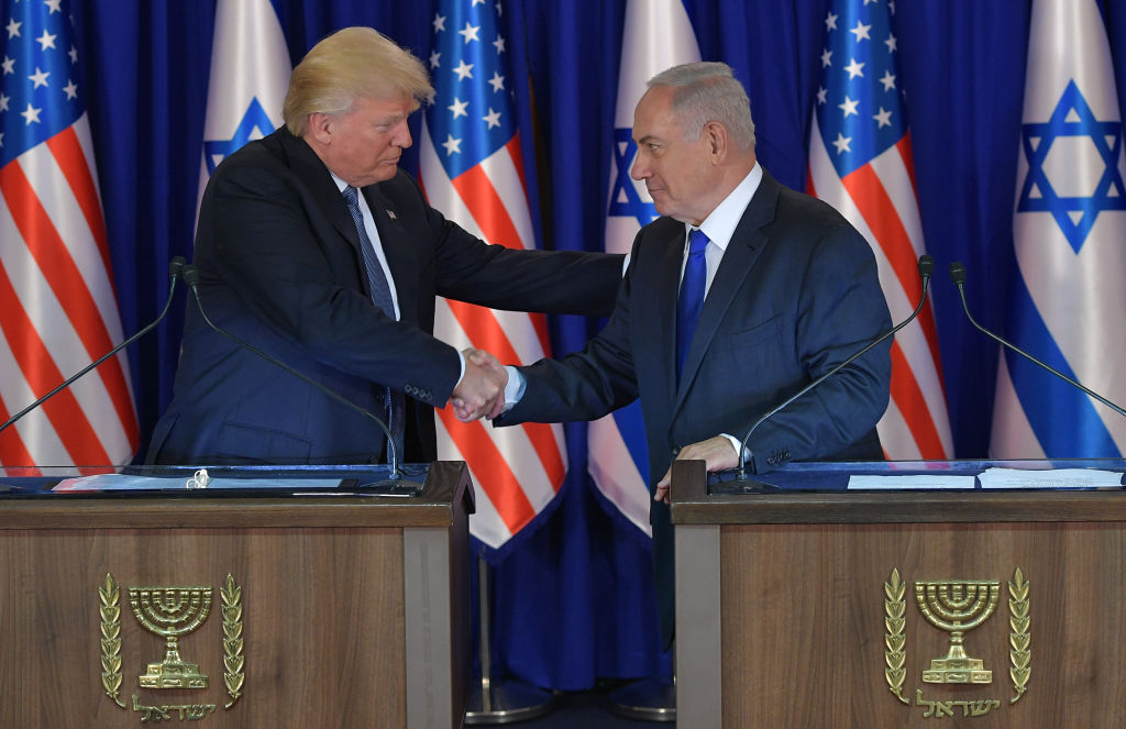 President Donald Trump (L) and Israel's Prime Minister Benjamin Netanyahu after delivering press statements before an official dinner in Jerusalem on May 22, 2017. (MANDEL NGAN/AFP/Getty Images)