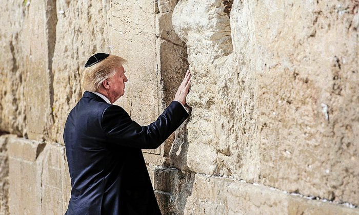 Donald Trump became the first sitting U.S. president to visit the Western Wall in Jerusalem on May 22. (RONEN ZVULUN/AFP/GETTY IMAGES)