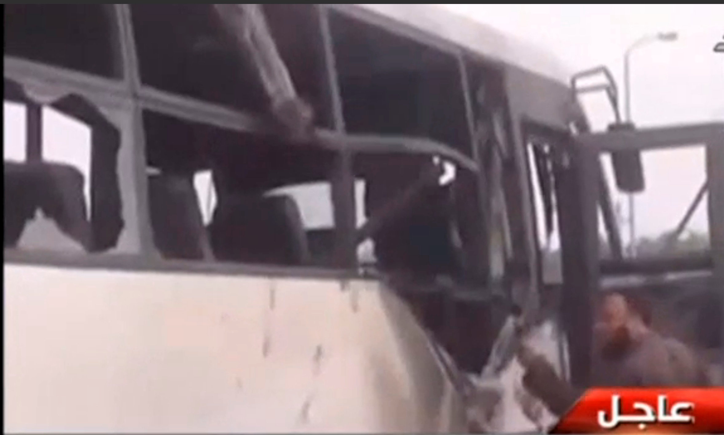 Aftermath of attack on buses and truck carrying Coptic Christians in Minya Province, Egypt on May 26, 2017. (EGYPT TV via REUTERS)