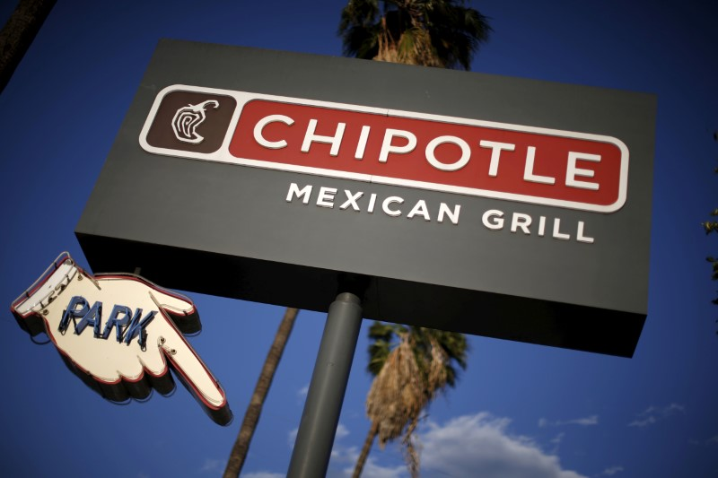 Signage for a Chipotle Mexican Grill is seen in Los Angeles, Calif., on April 25, 2016. (REUTERS/Lucy Nicholson)