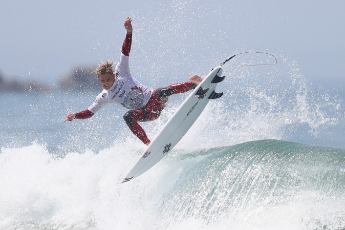 Jordy Collins of USA competes in the Men's Qualifying Round 2 at the ISA World Surfing Games 2017 at Grande Plage in Biarritz, France, on May 26, 2017. (Michael Steele/Getty Images)
