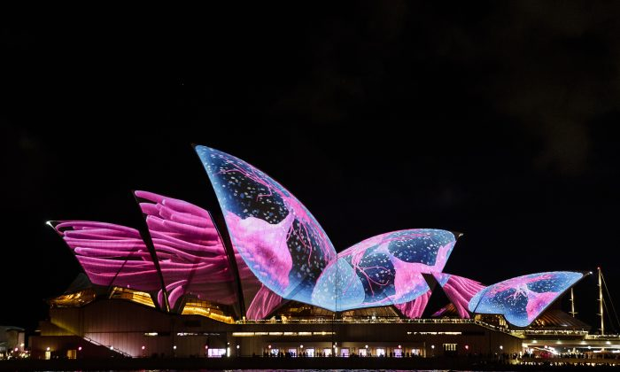 The Sydney Opera House sails are lit for the start of the Vivid Festival in Sydney, Australia on May 26, 2017. (Brook Mitchell/Getty Images)