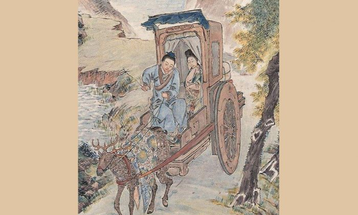 """Image depicting the current-day Chinese saying which describes a united young couple who live happily even in poverty with the term """"riding together in a carriage driven by deer"""". (Internet photo)"""