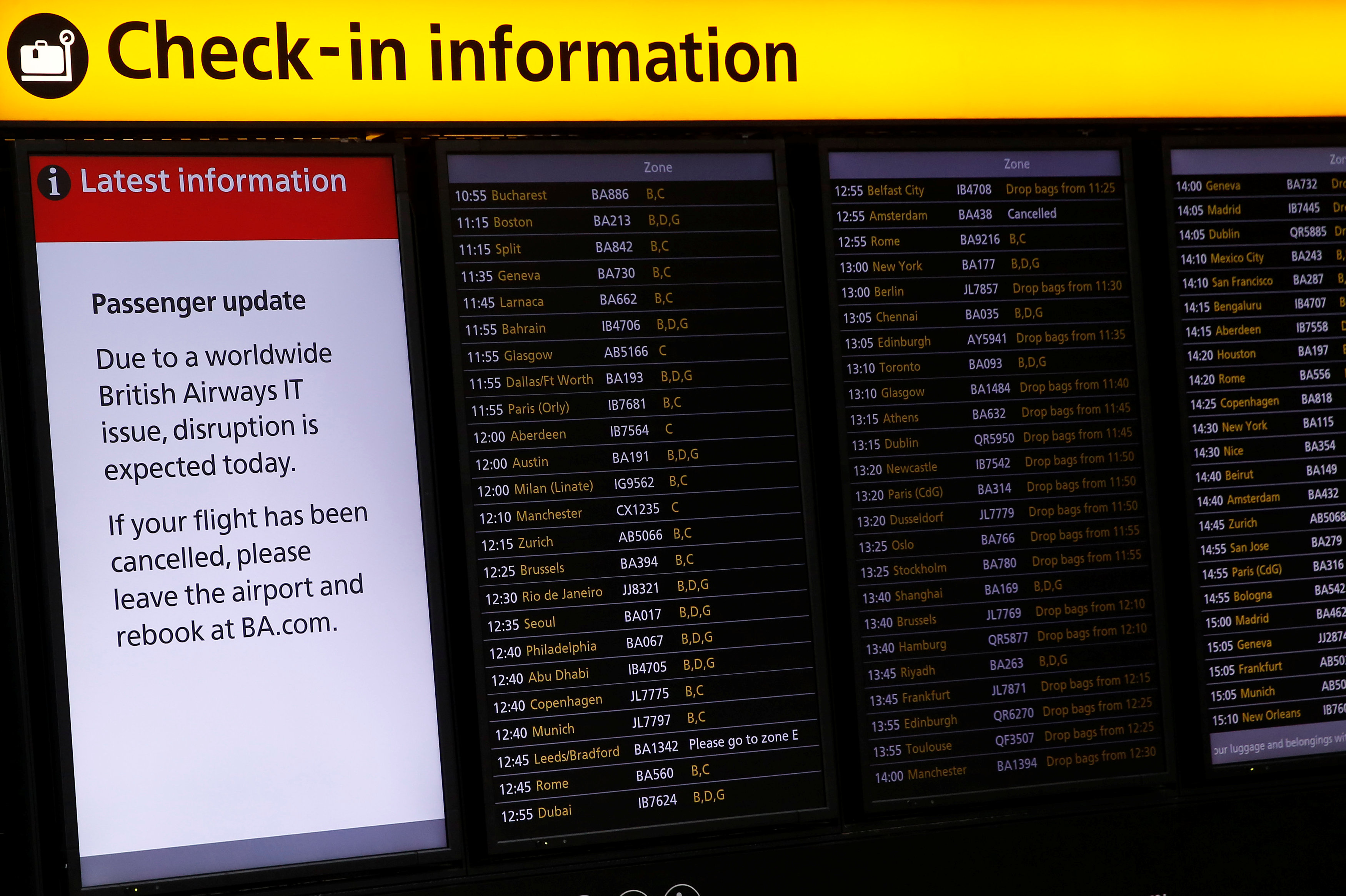 Check-in information boards are displayed at Heathrow Terminal 5 in London, Britain on May 29, 2017. (REUTERS/Stefan Wermuth)