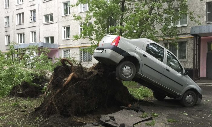 A car lifted by the roots of a tree, which was toppled during a heavy storm, in Moscow, Russia on May 29, 2017. (REUTERS/Alexander Panchenko TPX IMAGES OF THE DAY)