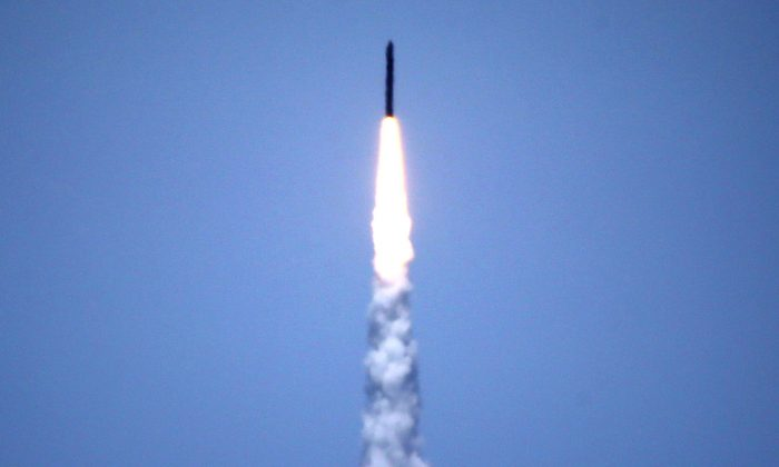 Saudi Arabia's air defense forces intercepted and destroyed a ballistic missile fired by Yemen's Houthis in the southern city of Najran on Sept. 5, 2018. (Lucy Nicholson/Reuters)