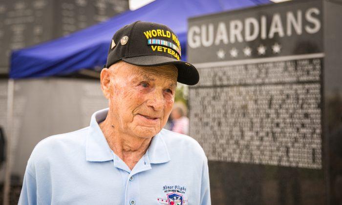 World War II veteran Lloyd Walker at the Veterans War Memorial of Texas in McAllen, Texas, on May 29, 2017. (Benjamin Chasteen/The Epoch Times)