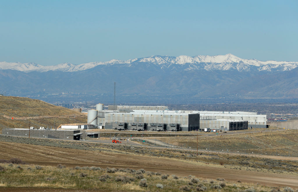 Farmland and a security fence surround the NSA's Utah data collection center in Bluffdale, Utah on March 17, 2017.  (George Frey/Getty Images))