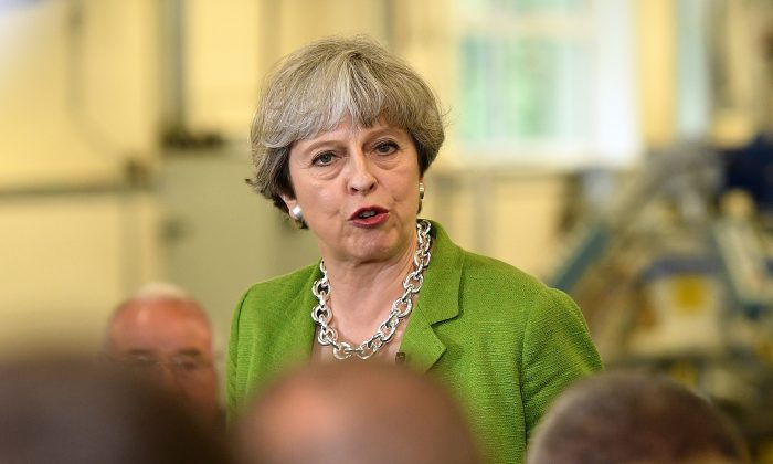 British Prime Minister Theresa May at Cross Manufacturing Company in Odd Down on May 31, 2017 in Bath, England. Britain goes to the polls to vote in a general election on June 8.  (Leon Neal/Getty Images)