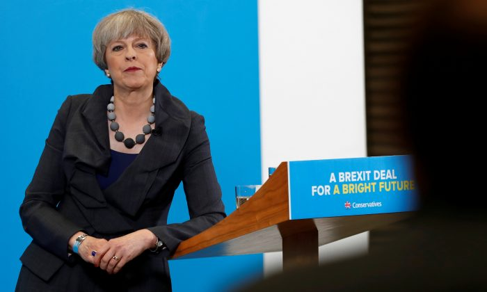 Britain's Prime Minister Theresa May at an election campaign event at C.J. Leonard and Sons in Guisborough on June 1, 2017. (REUTERS/Stefan Wermuth)