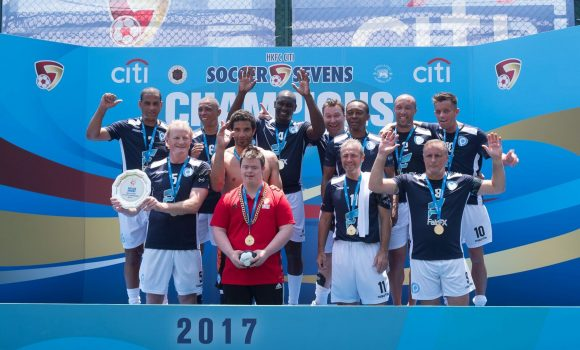 The newly formed PlayonPROS team, making their first competitive appearance, secured a win in the Masters Plate Final. (Dan Marchant)