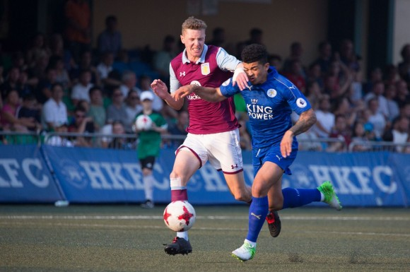 Aston Villa's #5 Jordan Cox, goes head-to-head (or at least hand to head) with Leicester City's #9 Joshua Gordon. (Dan Marchant)