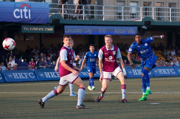 Leicester City #10 Josh Eppiah shoots (and scores) in Leicester City's Soccer Sevens Cup Final match against 2016 winners Aston Villa. (Dan Marchant)