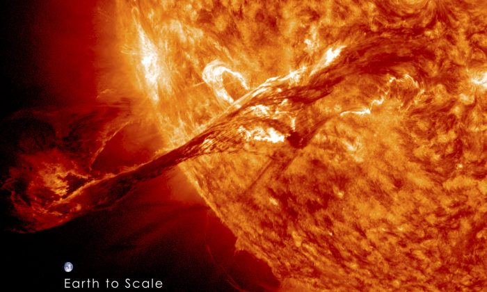A long filament of solar material that had been hovering in the Sun's atmosphere, the corona, erupts out into space. (REUTERS/NASA/GSFC/SDO)