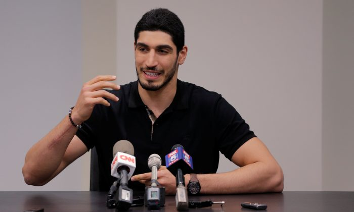 Turkish NBA player Enes Kanter at National Basketball Players Association headquarters in New York on May 22, 2017. (REUTERS/Lucas Jackson)