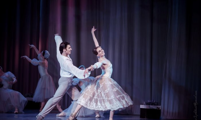 """Alexandre Olshansky is a graceful Alexandre and Anastasia Shevkenko is a dazzling Marie in the ballet """"La Dame aux Camélias,"""" choreographed by Aniko Rekhviashvili  at the Opera and Ballet Theatre of Ukraine. (Opera and Ballet Theatre of Ukraine)"""