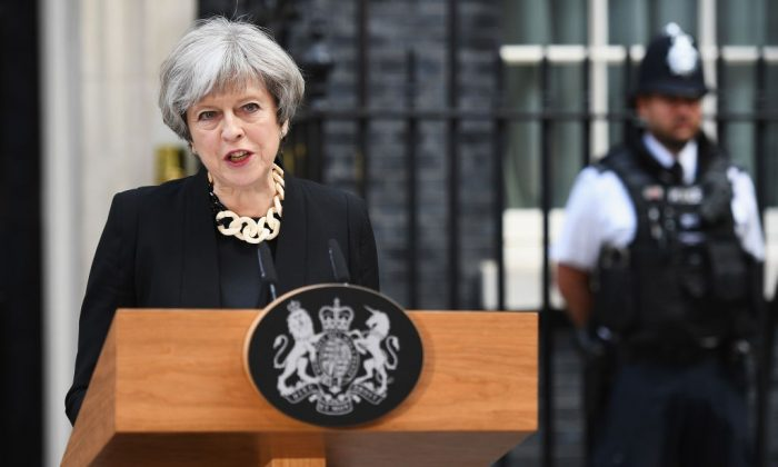 Britain's Prime Minister Theresa May addresses the media as she makes a statement, following a COBRA meeting in response to last night's London terror attack, at 10 Downing Street in London, England on June 4, 2017. (Leon Neal/Getty Images)