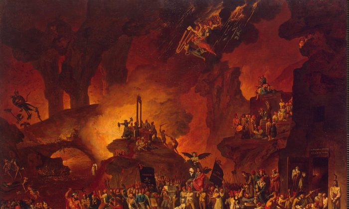 """An 18th century painting presents the horrors of the French Revolution's Reign of Terror, which it depicts as a scene in Hell. (Nicolas-Antoine Taunay, """"Le Triomphe de la Guillotine"""")"""