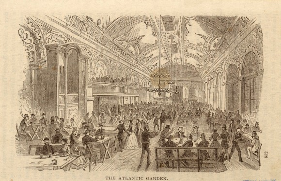 Hotel 50 Bowery now stands where the Atlantic Garden beer garden and music hall used to be. This photo shows an illustration of the Atlantic Garden from 1858. (Courtesy New York Public Library)