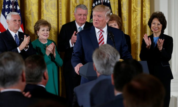 President Donald Trump announces his initiative on air traffic control in the United States from the East Room of the White House in Washington on June 5, 2017. (REUTERS/Jonathan Ernst)