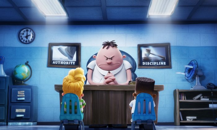 """(L–R) Harold (voiced by Thomas Middleditch) and George (voiced by Kevin Hart) crack up at the sight Captain Underpants (voiced by Ed Helms) in DreamWorks Animation's """"Captain Underpants: The First Epic Movie."""""""