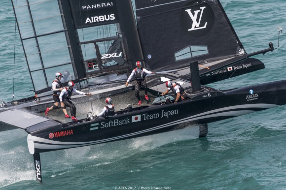 SoftBankTeam Japan open up a 3-1 lead by winning both races on day 2 (June 6) in the Louis Vuitton America's Cup Challenger Playoffs semi-finals. (ACEA 2017/Ricardo Pinto)
