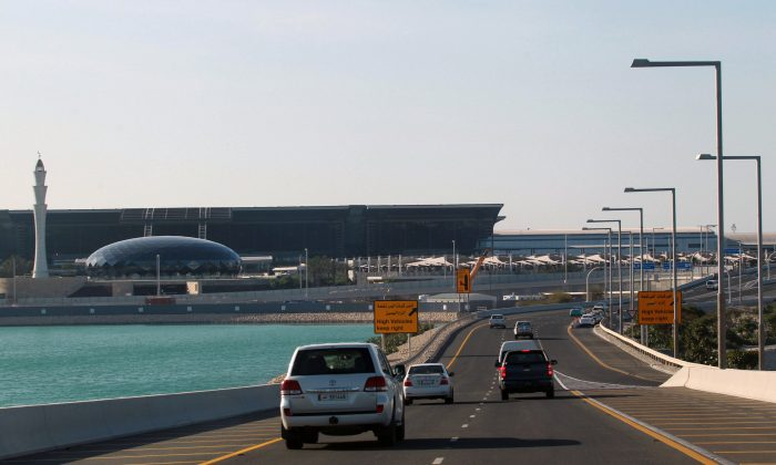 Cars drive on a road leading to Hamad International Airport in Doha, Qatar on June 5, 2017. (REUTERS/Stringer)