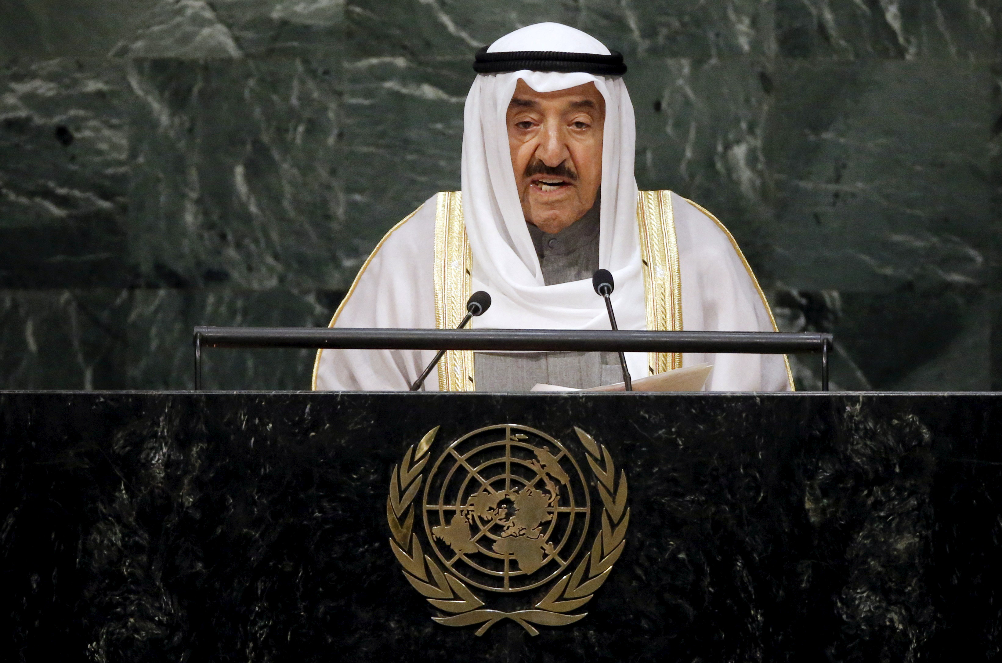 Kuwait's Emir Sheikh Sabah Al-Ahmad Al-Jaber Al-Sabah addresses a plenary meeting of the United Nations Sustainable Development Summit 2015 at the United Nations headquarters in Manhattan, New York on Sept. 26, 2015. (REUTERS/Carlo Allegri)
