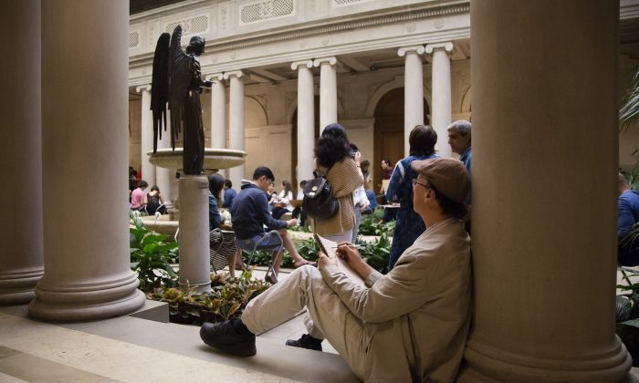 """Open sketch at the """"First Fridays"""" event at The Frick Collection in New York City on June 2, 2017. (Samira Bouaou/The Epoch Times)"""