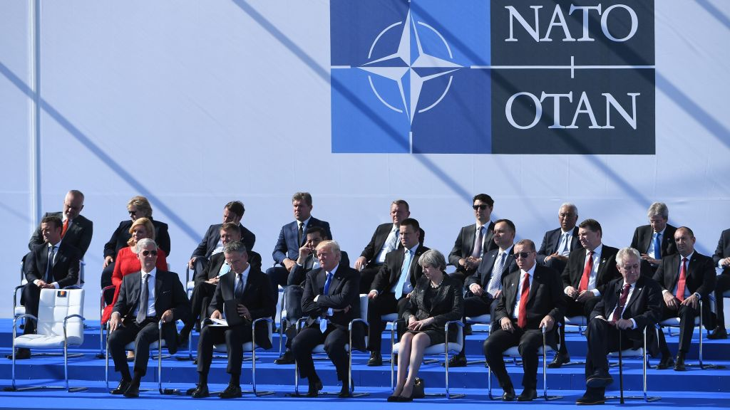 NATO heads of state attend a ceremony  during the NATO (North Atlantic Treaty Organization) summit at the NATO headquarters, in Brussels on May 25, 2017.  (EMMANUEL DUNAND/AFP/Getty Images)