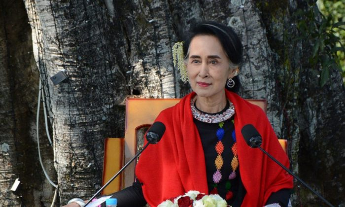Myanmar State Counsellor Aung San Suu Kyi during an event marking the 70th anniversary of Myanmar Union Day in Panglong town, Southern Shan State, Myanmar, February 2017. (AUNG HTET / AFP/GETTY IMAGES)